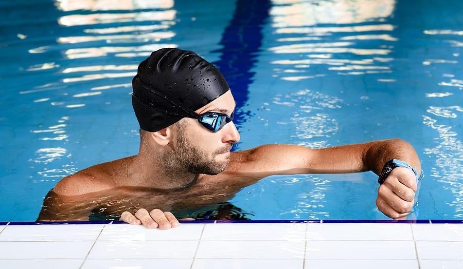 Swimmer with underwater watch