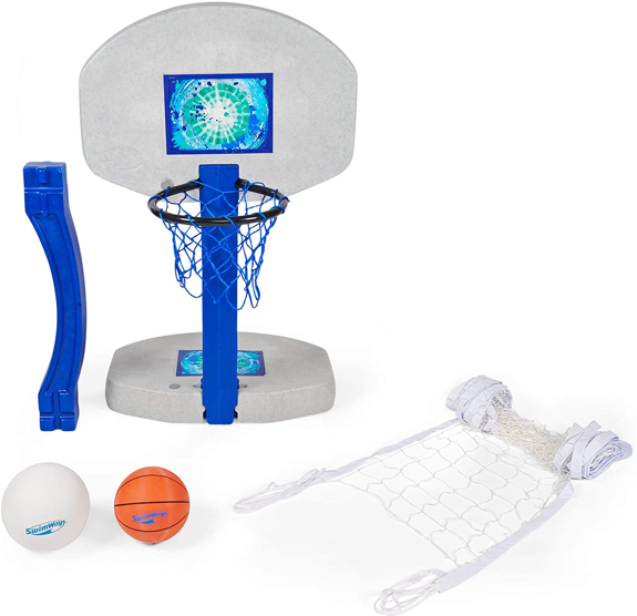 SwimWays 2-in-1 Poolside Basketball and Volleyball Set